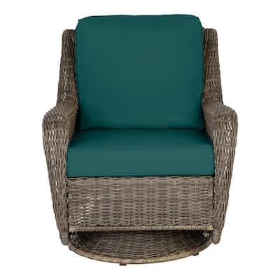 Cambridge Gray Wicker Outdoor Patio Swivel Rocking Chair with CushionGuard Malachite Green Cushions