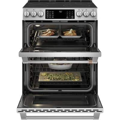 30 in. 6.7 cu. ft. Smart Slide-In Double Oven Electric Range with Convection in Stainless Steel