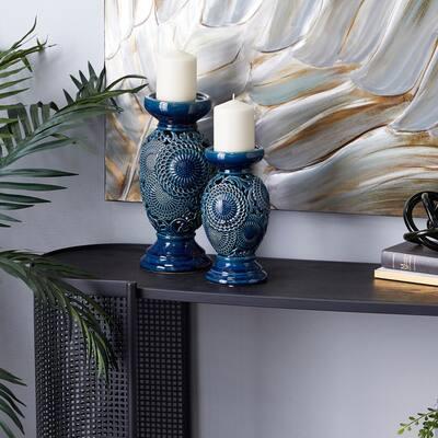 Blue Ceramic Candle Holder (Set of 2)