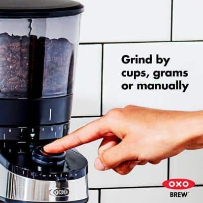 12 oz. Black Stainless Steel Burr Coffee Grinder with Integrated Scale