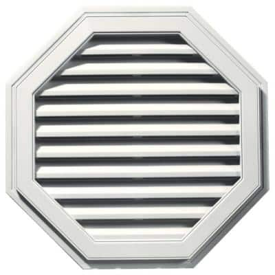 32 in. x 32 in. Octagon White Plastic UV Resistant Gable Louver Vent