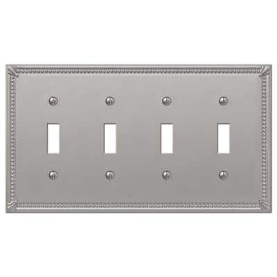 Imperial Bead 4 Gang Toggle Metal Wall Plate - Brushed Nickel