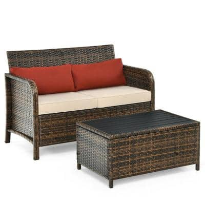 PE Wicker Steel Outdoor Loveseat with Table and Beige Cushion