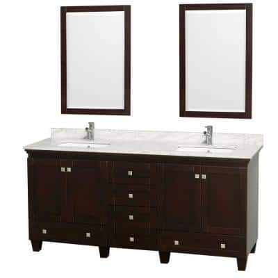 Acclaim 72 in. Double Vanity in Espresso with Marble Vanity Top in Carrara White, Square Sink and 2 Mirrors