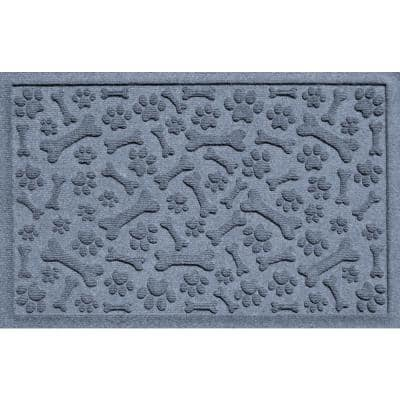 Paws and Bones 23 in. x 35 in. Recycled Polyester Mat Bluestone