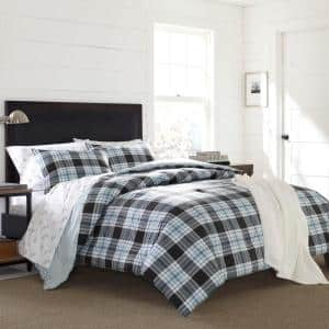 Lewis 3-Piece Blue Plaid Cotton Full/Queen Duvet Cover Set