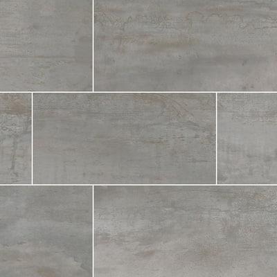 Metallic Steel 24 in. x 48 in. Glazed Porcelain Floor and Wall Tile ( 7 Cases/112 sq. ft./pallet )