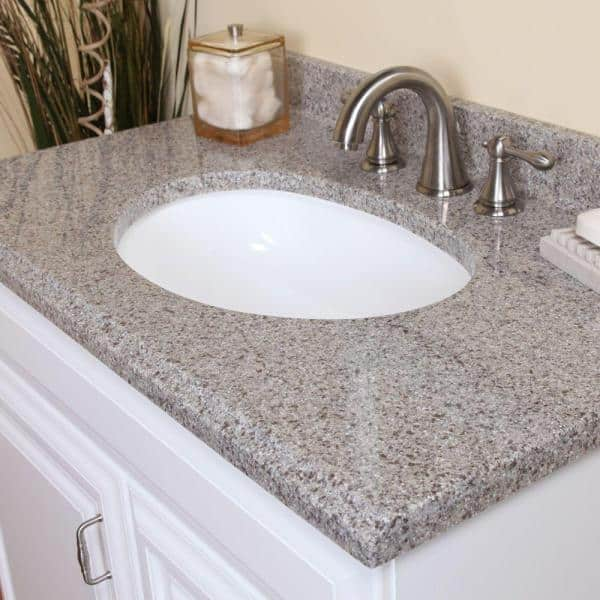 St Paul 4 In Solid Surface Technology Vanity Top Sample In Cobblestone Chss44 Cb The Home Depot