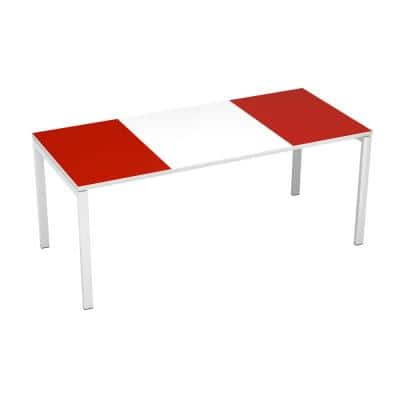 Paperflow easyDesk White Middle with Red Ends 71 in. Long Training Table
