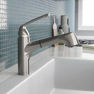 Calia Single-Handle Bar Faucet with Pull Out and CeraDox Technology in Brushed Nickel