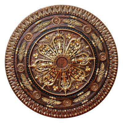 37-1/2 in. Arabic Caprice II, Bronze, Gold and Copper, Polyurethane Hand Painted Ceiling Medallion
