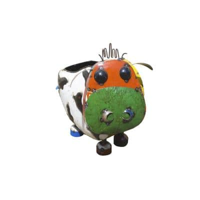 22 in. Painted Recycled Iron Cow Planter Garden Statue