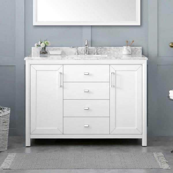 Home Decorators Collection 46 00 In W X 30 00 In H Framed Rectangular Bathroom Vanity Mirror In White Rockleigh Mr W The Home Depot