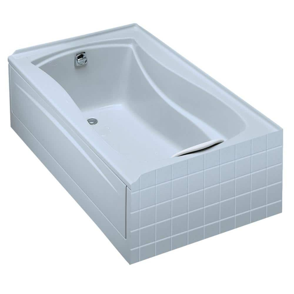Kohler Mariposa 5 Ft Acrylic Left Hand Drain Rectangular Alcove Soaking Tub In White K 1242 L 0 The Home Depot
