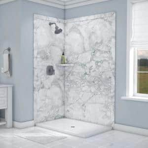 Elegance 36 in. x 48 in. x 80 in. 7-Piece Easy Up Adhesive Corner Shower Wall Surround in Everest