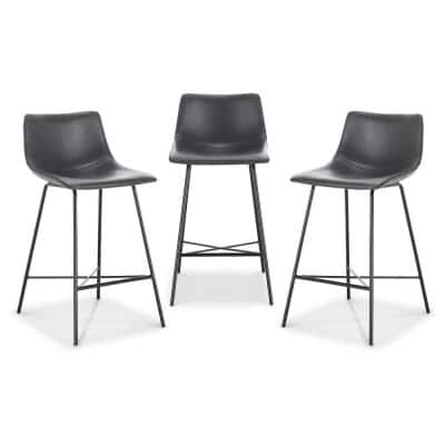 Paxton 24 in. Grey Counter Stool (Set of 3)