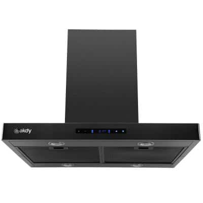 30 in. 343 CFM Convertible T-Shape Island Mount Range Hood with LED Lights in Black Stainless Steel
