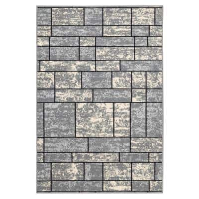 Ottohome Collection Contemporary Boxes Design Gray 3 ft. 3 in. x 5 ft. Non-Slip Rubber Back Area Rug