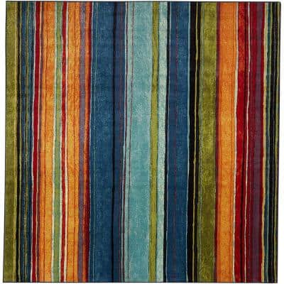 Rainbow Multi 7 ft. 6 in. x 7 ft. 6 in. Striped Area Rug