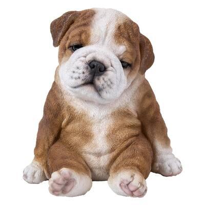 Bulldog Puppy Sitting Sleepy Statue
