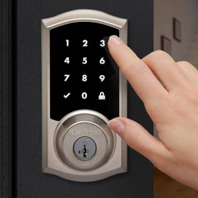 Premis Touchscreen Smart Lock Single Cylinder Satin Nickel Electronic with Avalon Handleset and Tustin Door Lever