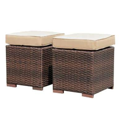 Patiorama 2-Piece Wicker Outdoor Patio Ottoman with Brown Cushions