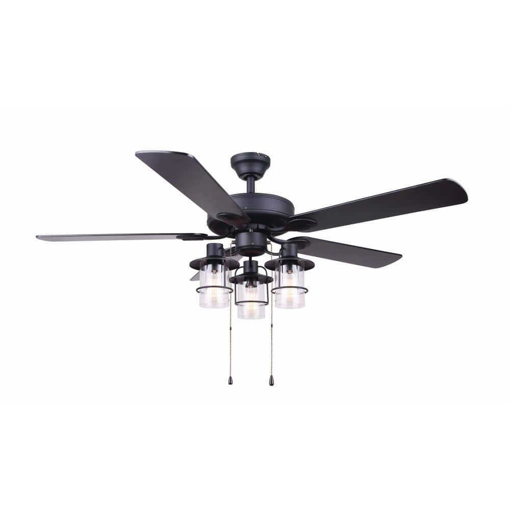 Canarm Catena 52 In Matte Black Ceiling Fan With Light Kit Cf52cat5bk The Home Depot