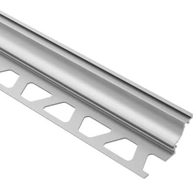 Dilex-AHK Satin Anodized Aluminum 1/2 in. x 8 ft. 2-1/2 in. Metal Cove-Shaped Tile Edging Trim
