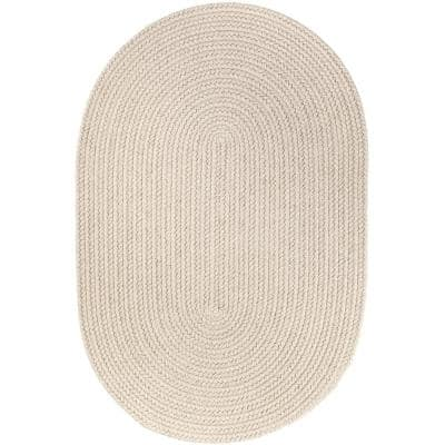 Texturized Solid Pumice Poly 10 ft. x 13 ft. Oval Braided Area Rug