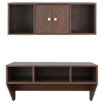 36 in. Rectangular Brown Floating Desk with Hutch