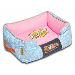 Large Sky Blue and Bubblegum Pink Bed