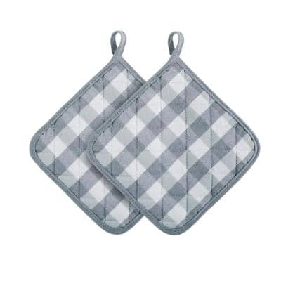 Buffalo Check Polyester/Cotton Grey Pot Holders (2-Pack)