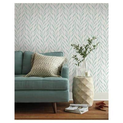 Willow Blue Paper Pre-Pasted Washable Wallpaper Roll (Covers 56 Sq. Ft.)