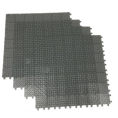 Gray Regenerated 22 in. x 22 in. Polypropylene Interlocking Floor Mat System (Set of 4 Tiles)