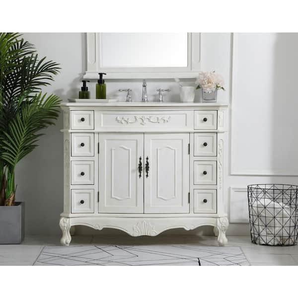 H Single Bathroom Vanity, Antique White Bathroom Vanity Home Depot