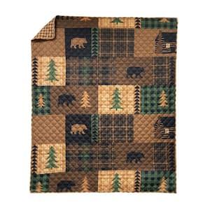 Brown Bear Cabin Brown Microfiber Throw