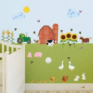 Farm Multi Peel and Stick Removable Wall Decals Barnyard Theme Mural (38-Piece Set)