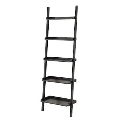 72 in. Espresso Wood 5-shelf Ladder Bookcase