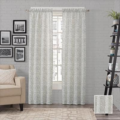 Spa Medallion Rod Pocket Room Darkening Curtain - 56 in. W x 63 in. L (Set of 2)