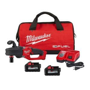 M18 FUEL 18-Volt Lithium-Ion Brushless Cordless 1/2 in. Hole Hawg Right Angle Drill Kit w/Quick-Lok, Two 6.0Ah Batteries