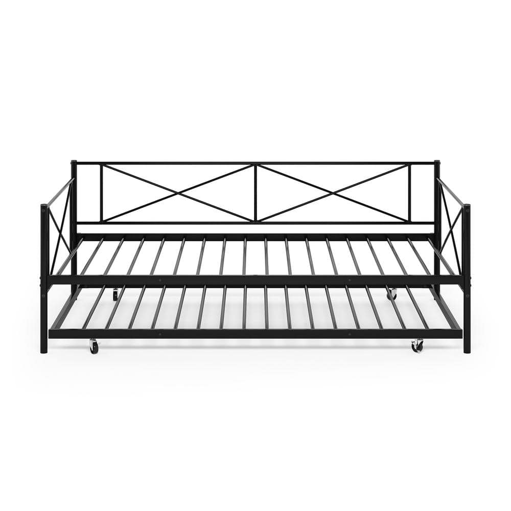 Furinno Angeland Carca Black Metal Trundle Daybed Fdb5007t Bk The Home Depot