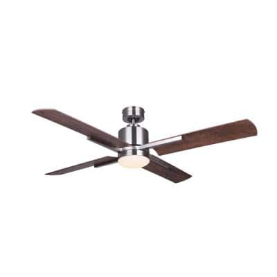 Loxley 52 in. Integrated LED Indoor Brushed Nickel Dual Mount Ceiling Fan with Light Kit and Remote Control
