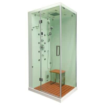 Jupiter Plus 43 in. x 31 in. x 86 in. Steam Shower Enclosure Kit in White with Left Hand Side Unit
