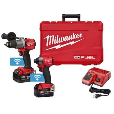 M18 FUEL ONE-KEY 18-Volt Lithium-Ion Brushless Cordless Hammer Drill/Impact Driver Combo Kit Two 5.0 Ah Batteries Case