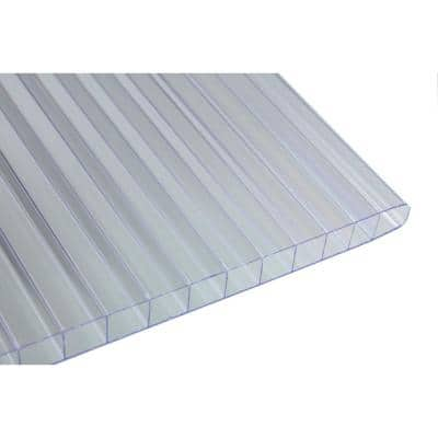 24 in. W x 60 in. L x 0.3125 in. T (8 mm) Clear Twin Wall Polycarbonate Sheet