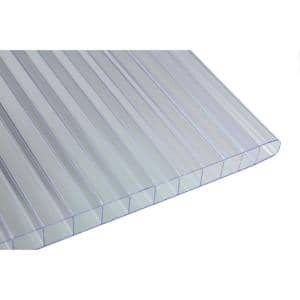 36 in. W x 72 in. L x 0.3125 in. T (8 mm) Clear Twin Wall Polycarbonate Sheet