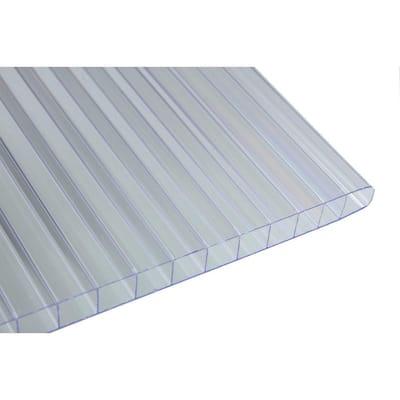 48 in. W x 96 in. L x 0.3125 in. T (8 mm) Clear Twin Wall Polycarbonate Sheet