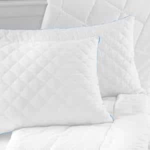 Quilted Hybrid Medium Support Memory Foam Cluster and Fiber Jumbo Pillow Set of 2