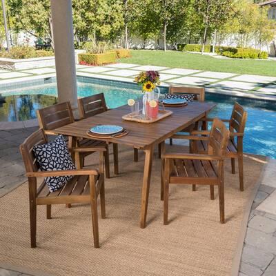 Teak Finish 7-Piece Wood Rectangular Outdoor Dining Set