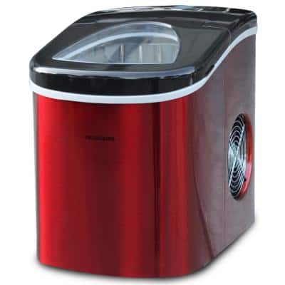 26 lb. Portable Counter Top Ice Maker in Red Stainless